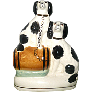 Victorian Flat back Staffordshire Chimney Ornament 2 Black  and White Spaniel Dogs Barrel