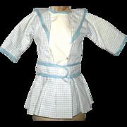 SALE PENDING Vintage Blue and Ivory Cotton Plaid Drop Waist Belted Dress for Small Schoenhut D
