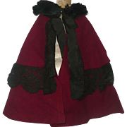 Antique Cranberry Wool Cloak for French Fashion or Lady Doll