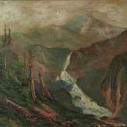 American Art - Vintage Landscape Oil Painting - In the Cascade Range, Washington