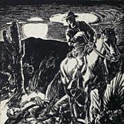 American Art - Dead Man Under a Full Moon: Vintage Western Pulp Original Illustration Art