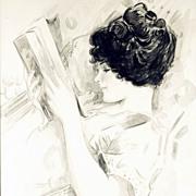 American Art - Beautiful Reader: Vintage Original Portrait Painting
