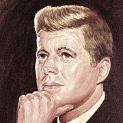 American Art - Joe Makray: JFK Vintage Portrait Painting