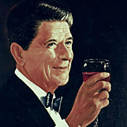 American Art - President Ronald Reagan: Vintage Portrait Painting