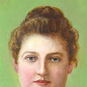 American Art - A Southern Belle: Antique Oil Portrait Painting