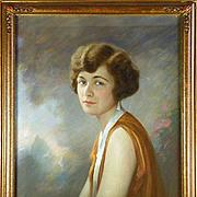 American Art - Irving Ramsey Wiles 1903:  Lady In an Orange Dress, Antique Pastel Portrait