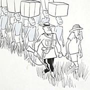 American Art - Safari Prisoner: Vintage Original Illustration Art by Claude