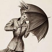 American Art - Umbrella Girl: Charles Sheldon Vintage Original Illustration Art