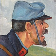 American Art - Civil War Soldier: 1933 Oil on Panel