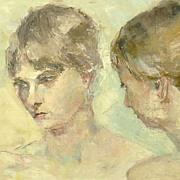 American Art - Sisters: Vintage Oil Impressionist Painting