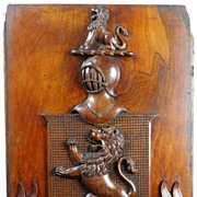 SALE Lewis Family Crest - 19th c. Carved Mahogany Armorial Crest