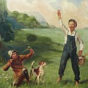American Art - Tom Sawyer & Huckleberry Finn: Vintage Original Oil Painting