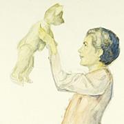 Playing with Teddy: Original Illustration Art circa 1935