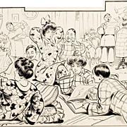 American Art – Two cartoons by Erhart: Vintage Ink on Board Original Art