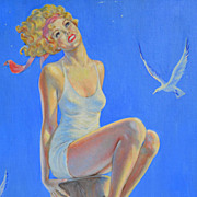 SALE Fred Leister: Atlantic City Girl - Vintage Pin-Up Oil on Canvas Board