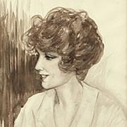 American Art - 1914 Portrait of a Flapper -- Vintage Framed Drawing on Paper
