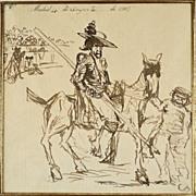 American Art - Robert Henri: The Bull Ring – 1908 Pen and Ink Drawing