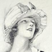 American Art - Charles G Sheldon: Fashion Model with Walking Stick - 1921 Drawing