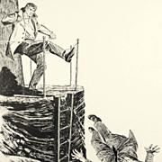 "American Art - Hal Stone: ""Lighthouse Kick"" - Vintage Story Illustration Art"