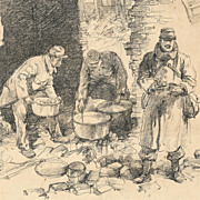 Charles Huard: La Popote - Vintage Original Illustration Art
