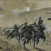 Original Charcoal Illustration Art: Vintage WWI Artillery Horses Action Scene
