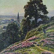 SOLD Art de France - 'Bruyeres en Fleurs, le Matin' - Antique Impressionnist Oil on Canvas Lan