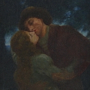 William Breakspeare: Nocturnal Seduction – Antique Pre-Raphaelite Genre Scene, Oil on Canvas