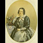 Madame Lucie Olivier, Nee de Larrey. Antique Watercolor Portrait