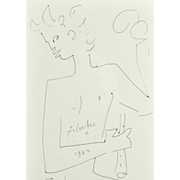 Jean Cocteau (1889-1963), 1962 Male Nude with Flute. Original Drawing.