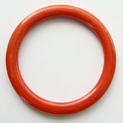 Vintage Bakelite Bangle Bracelet Orangey Tomato Red Marbled Tested