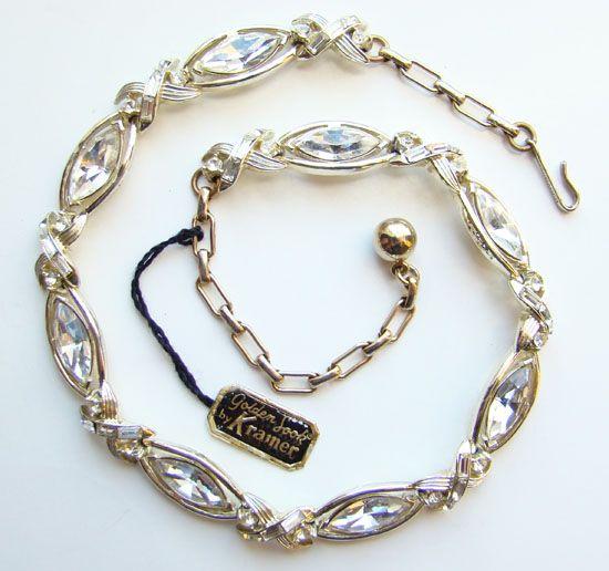 C1960 Kramer Rhinestone Golden Look Link Necklace wOriginal Hang Tag