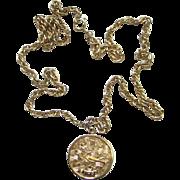 Sarah Coventry Virgo Zodiac Pendant Necklace 1970 Goldtone
