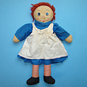 Raggedy Ann Doll in Blue Cotton Dress 19 Inch