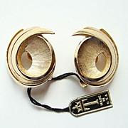 Vintage Trifari Brushed Goldtone Swirl Earrings wPaper Label