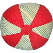 Old Child Fabric Toy Ball C1920-40 Red White Blue Cotton Handmade