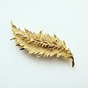 Vintage Hattie Carnegie Brushed Gold Tone Leaf Brooch