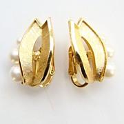 Vintage 1950s Crown Trifari Goldtone Pearl Earrings Stylized