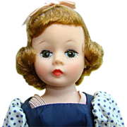 C1957 Madame Alexander Basic Cissette Doll in 916 Blue Taffeta Dress Blonde