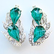 Vint Kramer Flawed Emerald Green Rhinestone Earrings Signed Empress Collection