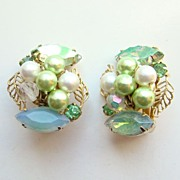 Vintage Kramer Mint Green Rhinestone Bead Earrings Signed