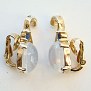 1950s Crown Trifari Clip Earrings Alfred Philippe Opalescent Jelly Belly Rhinestone