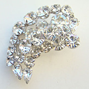 SOLD C1950 Kramer Clear Ice Rhinestone Brooch Rhodium Plated Pre 1955 Signed