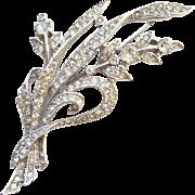 1941 Trifari Rhinestone Floral Brooch Alfred Spaney Rhodium Book Piece Pat 129319