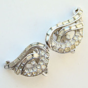 C1950 Crown Trifari Clip Earrings Clear Pave Rhinestone Rhodium Pre 1955 Signed