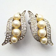 Vintage Jomaz Mazer Brothers Clip Earrings Simulated Pearl Pave Rhinestone Signed