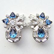 Vintage Mazer Brothers Jomaz Clip Earrings Sapphire Blue Rhinestone Rhodium Signed