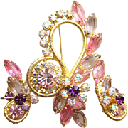 Vintage Juliana DeLizza Elster Pink AB Rhinestone Brooch Earrings