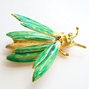 Vintage Fanciful Figural Green Enamel Grasshopper Insect Trembler Pin Brooch
