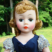 1959 Madame Alexander Cissette Doll 916 Navy Blue Taffeta Dress Rarer Variation