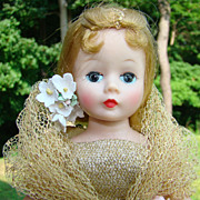 C1960 Madame Alexander Cissette Doll in Gold Lame Ball Gown 824 Original Box